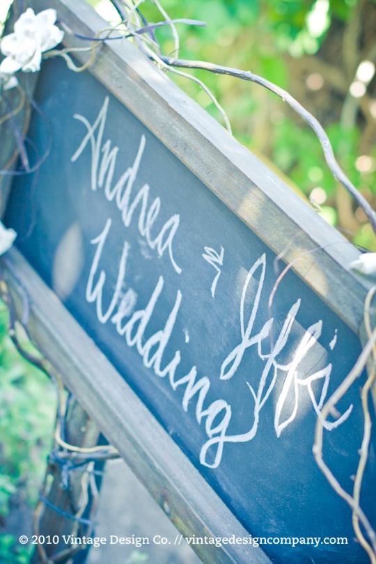 Chalkboard Wedding Sign in the Rose Garden at Pillar and Post