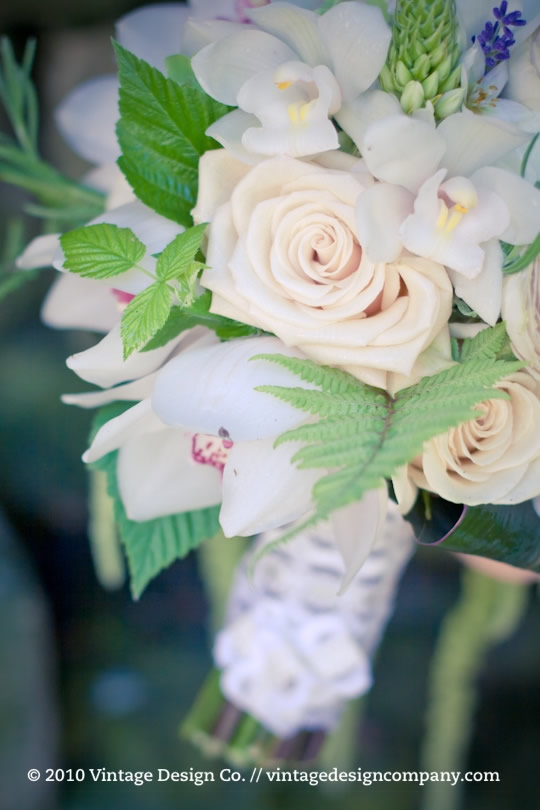 Cascading Bridal Bouquet in white and green