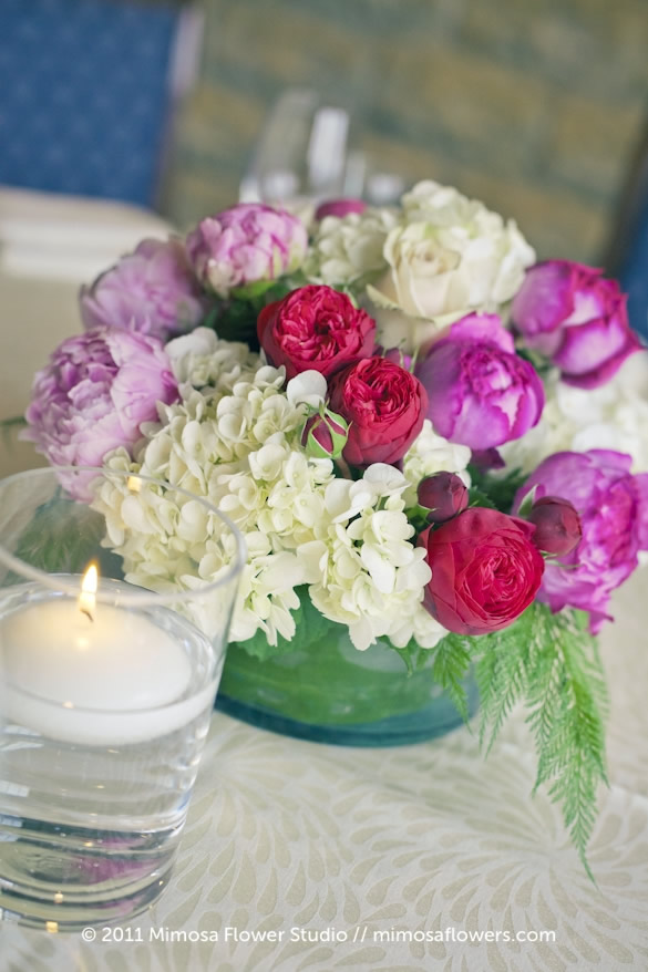Pink and White Centerpiece Inn on the Twenty