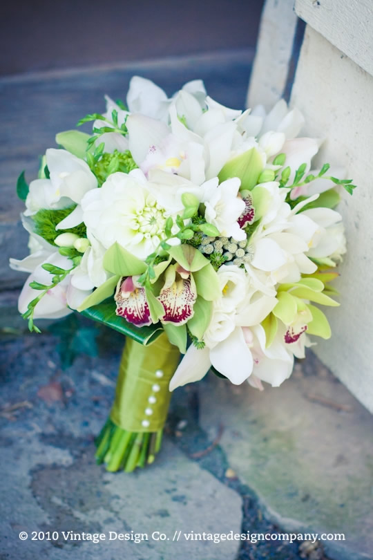 Vintage Design Co. // White and Green Bridal Bouquet