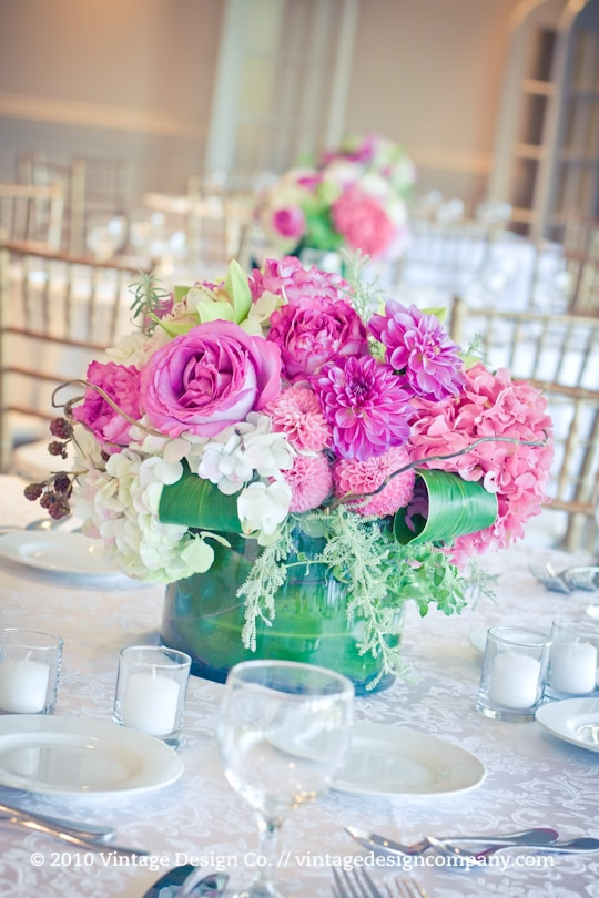 Vintage Design Co. // Pink and White Wedding Centerpieces