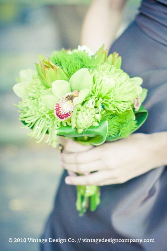 Vintage Design Co. // White and Green Bridesmaids Bouquet 3