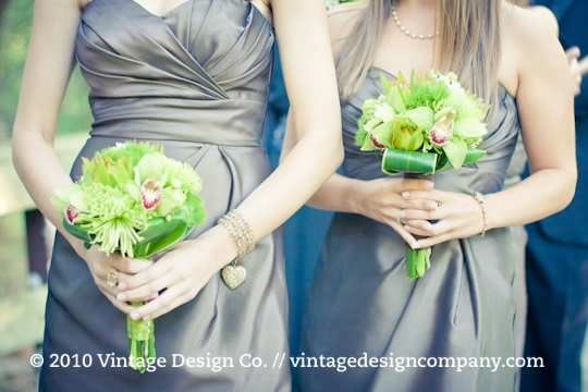 Vintage Design Co. // White and Green Bridesmaids Bouquet 2