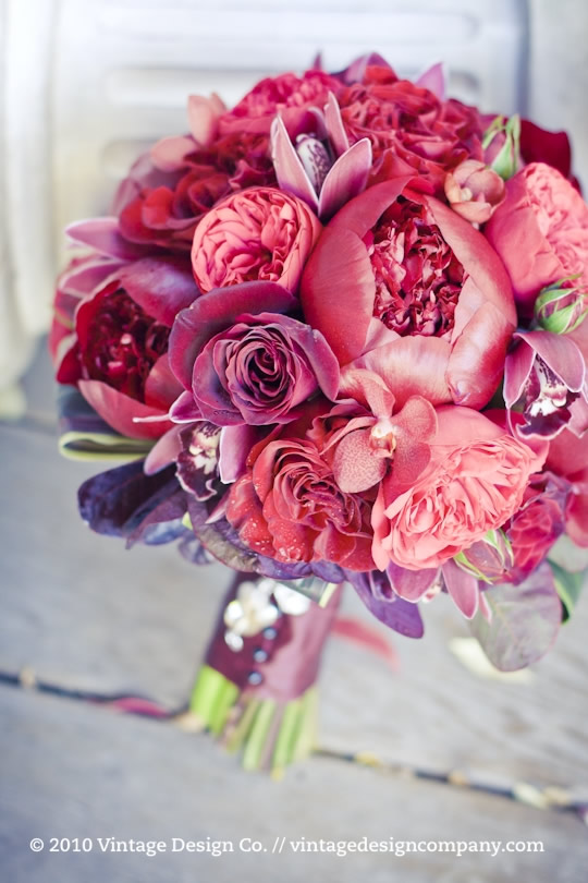 Red Brides Bouquet with Peony