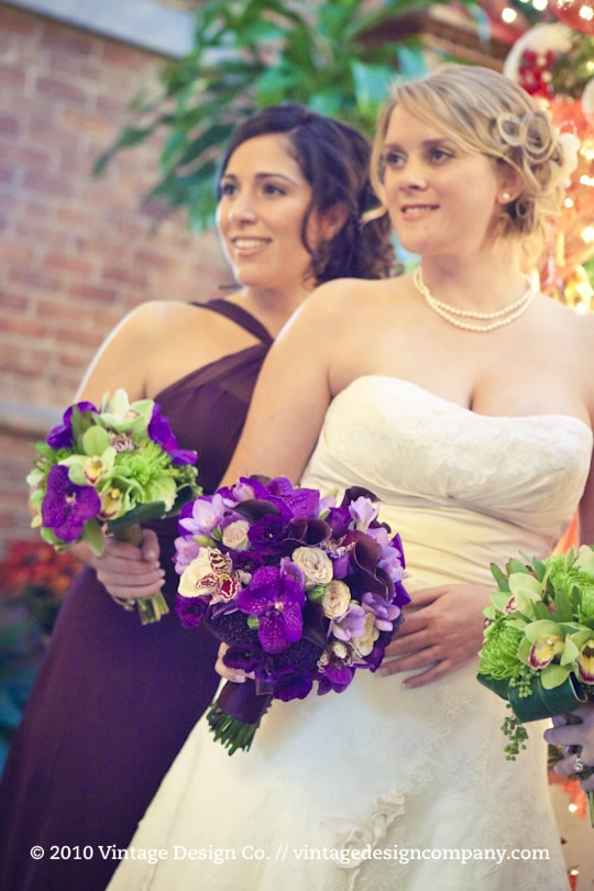 Green and purple bridesmaids bouquet 3