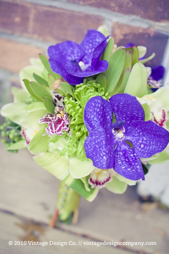 Green and purple bridesmaids bouquet