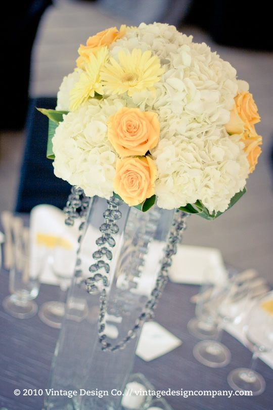 Wedding Reception Centerpiece in Yellow and White