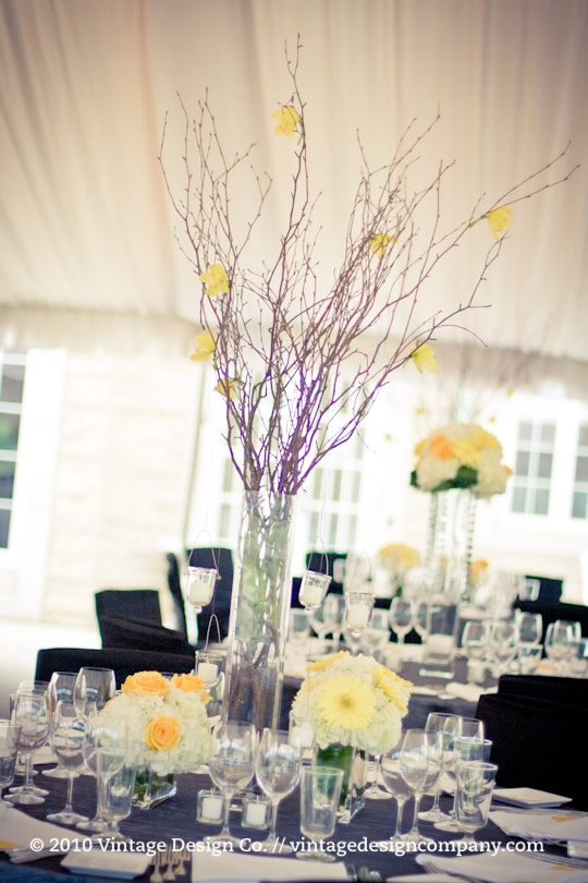Wedding Reception Centerpiece in Yellow and White 3