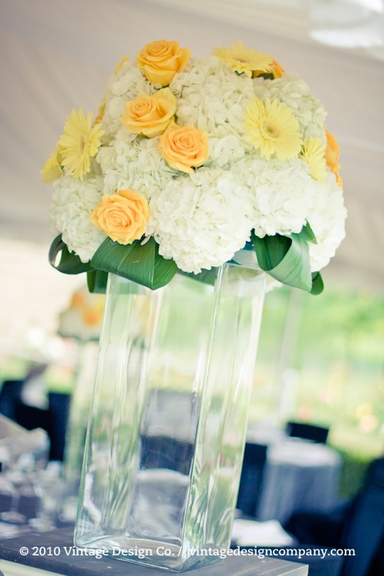 Wedding Ceremony Altar Arrangement in Yellow and White