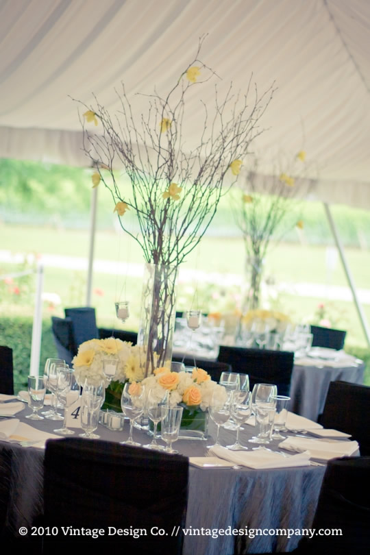Wedding Reception Centerpiece in Yellow and White 5