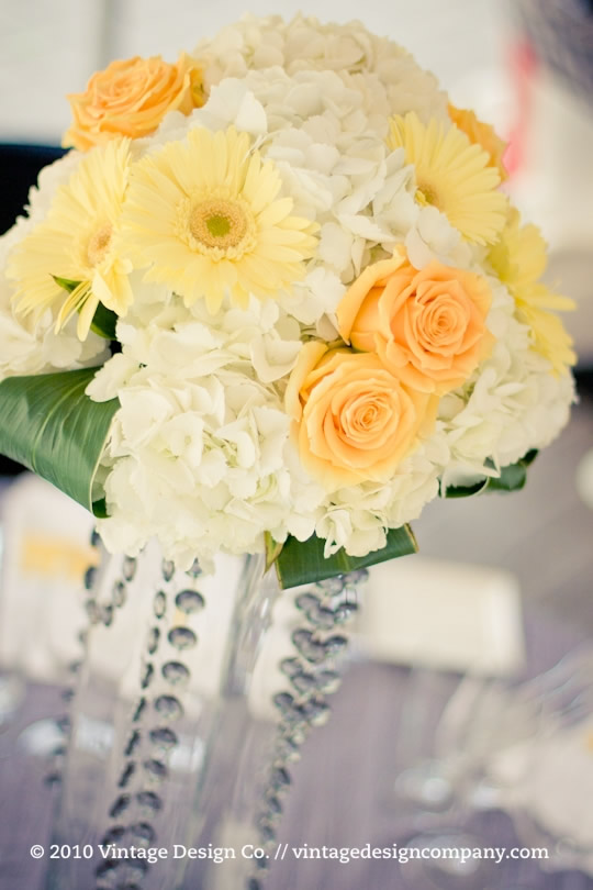 Wedding Reception Centerpiece in Yellow and White 2