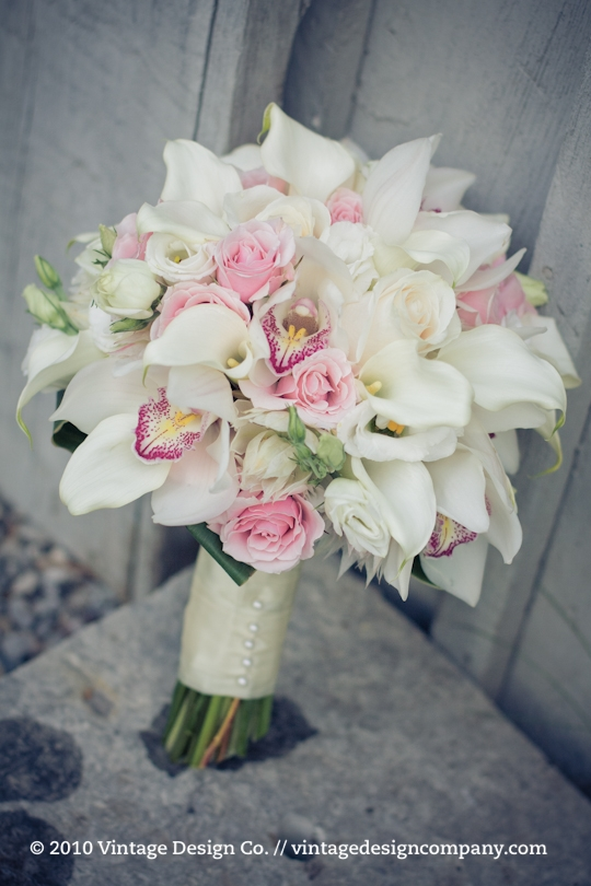 Soft Pink and White Bride's Bouquet /// Orchids Calla Lily