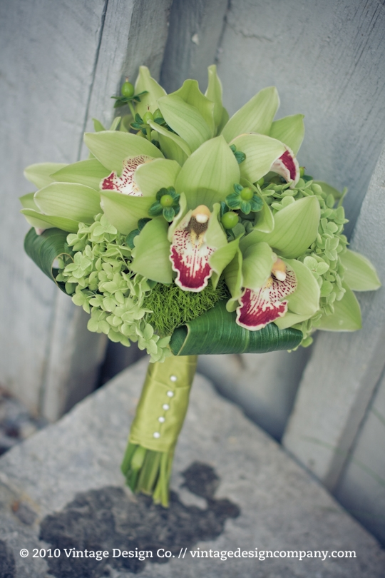 Green Bridesmaid's Bouquet /// Orchids Hydrangea