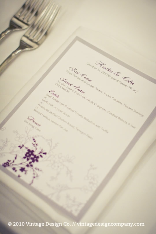 Wedding Menu at Vineland Estates Winery