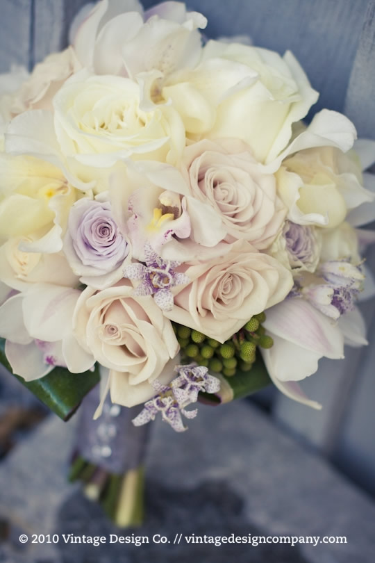 White, Lavender and Champagne Bride's Bouquet