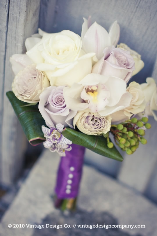 White, Lavender and Champagne Bridesmaids Bouquet