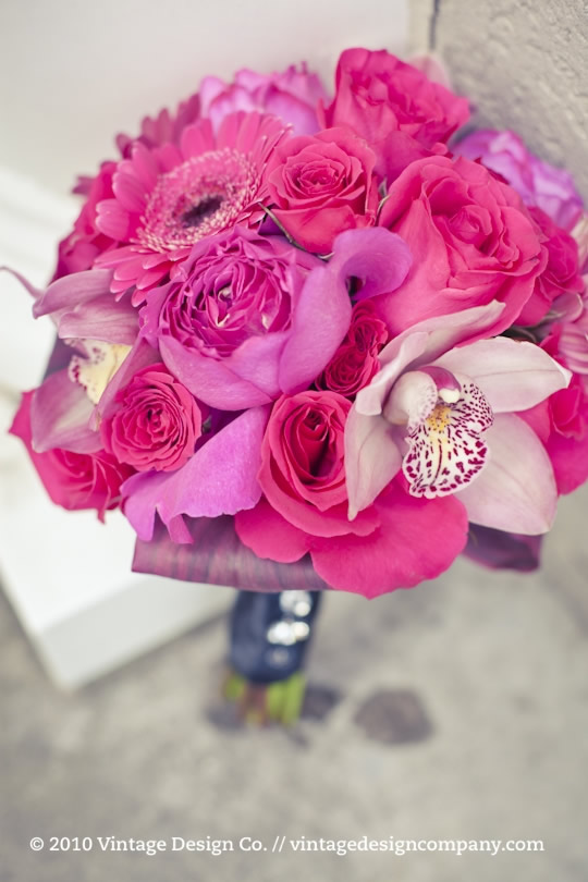 Pink and black bridesmaids bouquet