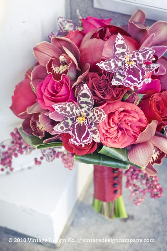 Red Bride's Bouquet with Orchids and Roses