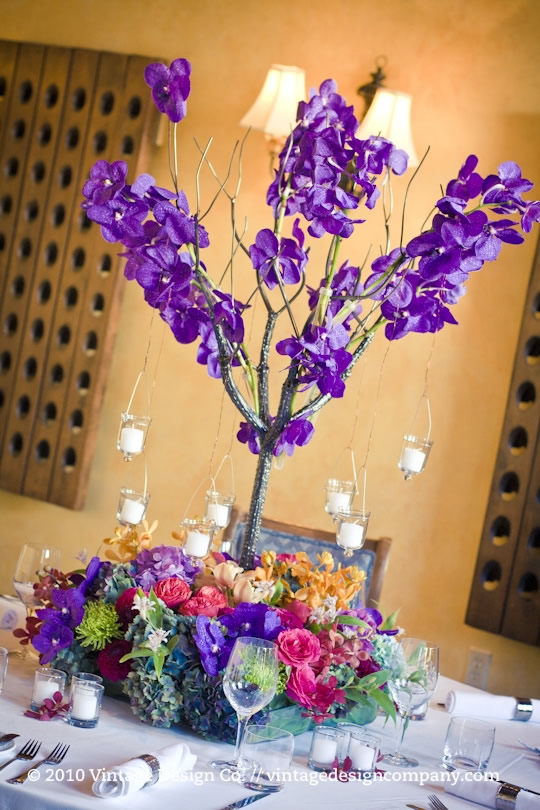 Metal Tree with Orchids Centerpiece