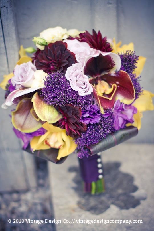 Vintage Design Co. // Purple and Yellow Bridal Bouquet