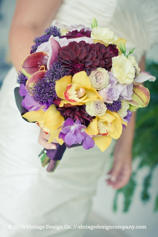 Vintage Design Co. // Purple and Yellow Bridal Bouquet 2