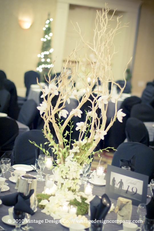 Manzanita branch wedding reception flowers 2