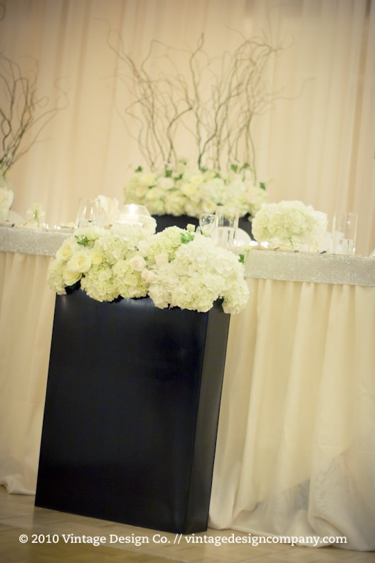 Head Table flowers at wedding reception