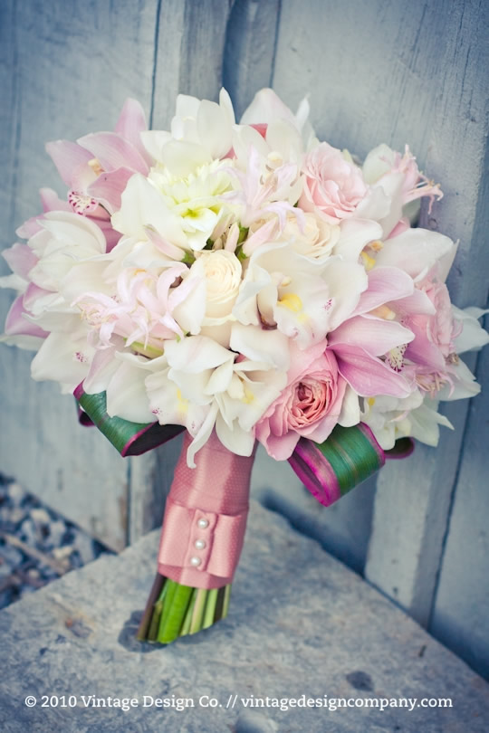 Pink and White Bride's Bouquet Close Up