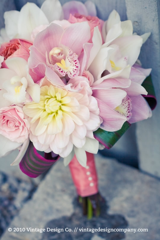 Pink and White Bridesmaid Bouquet 1