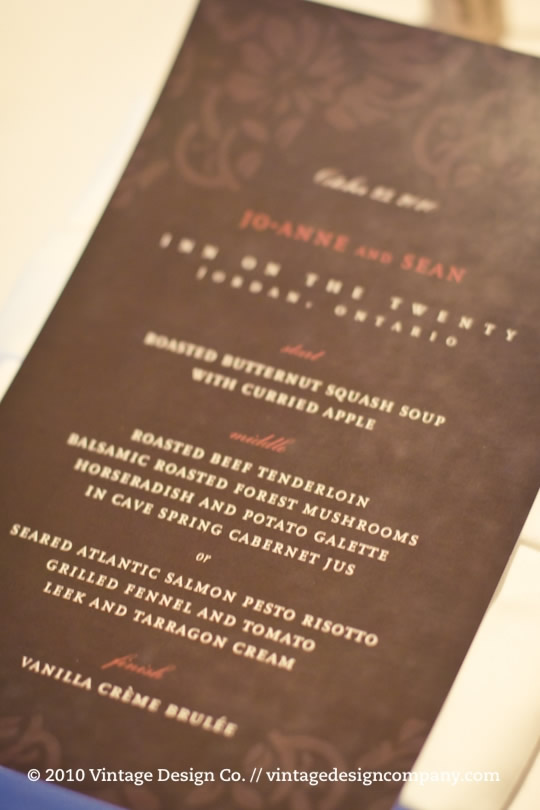 Niagara Winery Wedding // Inn on the Twenty / Menu