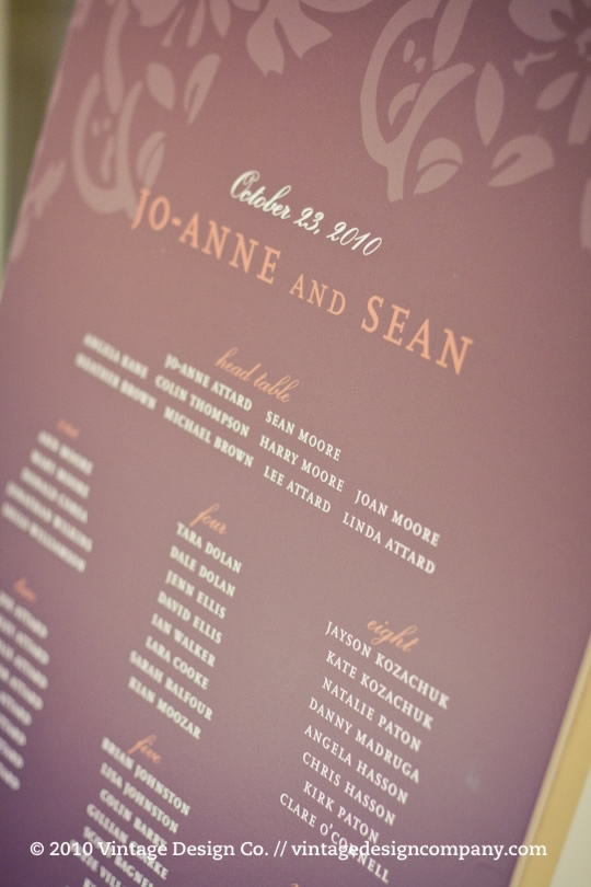 Niagara Winery Wedding // Seating Plan 2