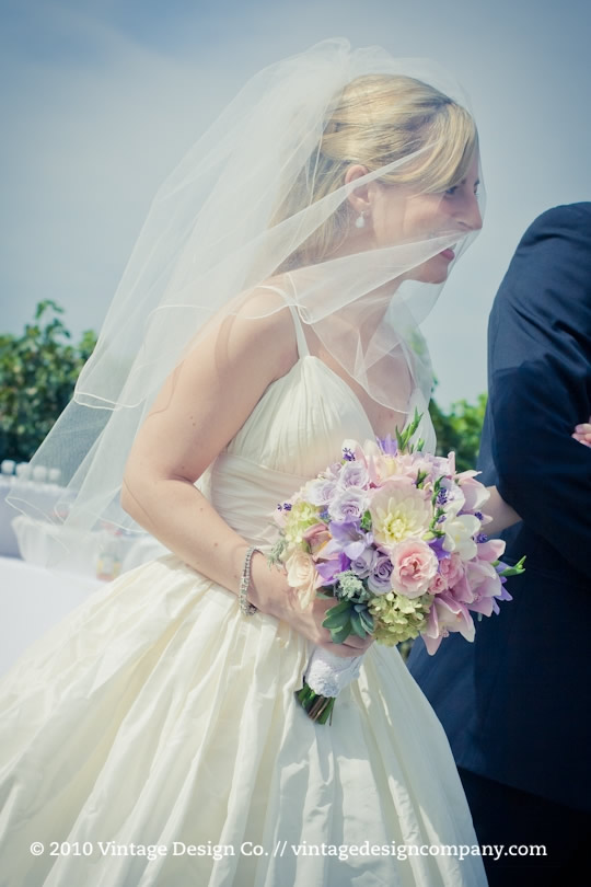 Pink and White Bride's Bouquet Vineyard Wedding