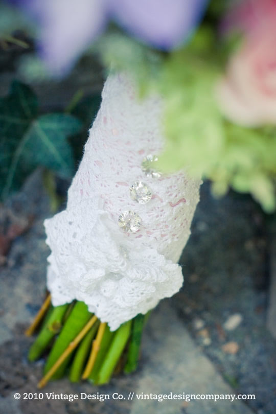 Pink and White Bride's Bouquet Lace Detail