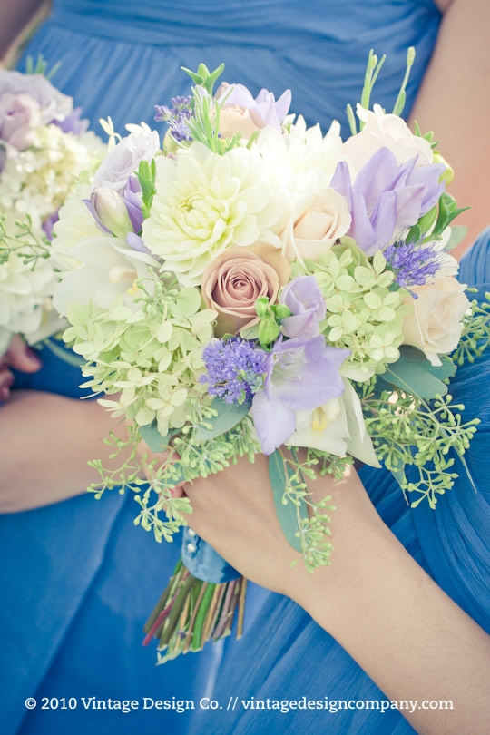 Lavender and Blue Bridesmaids Bouquets 3
