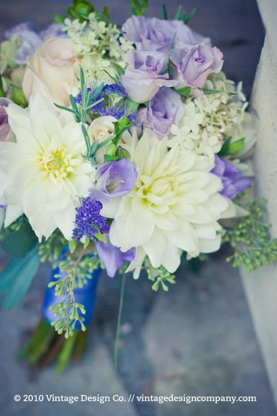 Lavender and Blue Bridesmaids Bouquets