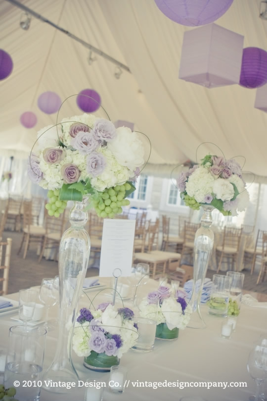 Niagara on the Lake wedding reception in gold and purple