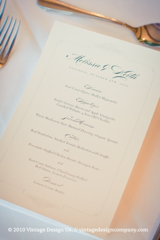 Niagara Winery Wedding // Wedding Stationery // Menu