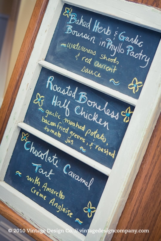 Niagara Wedding Florist // Chalkboard Menu