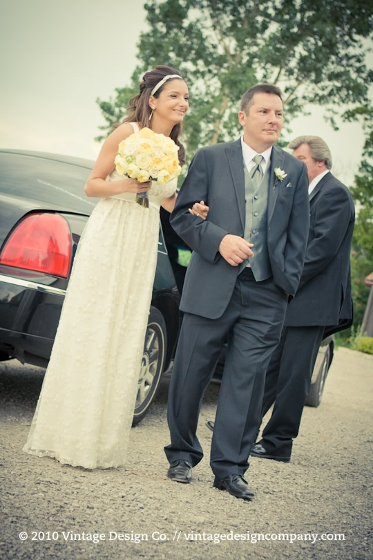 Niagara Wedding Florist // Bridesmaid in Pewter with Yellow Flowers 2