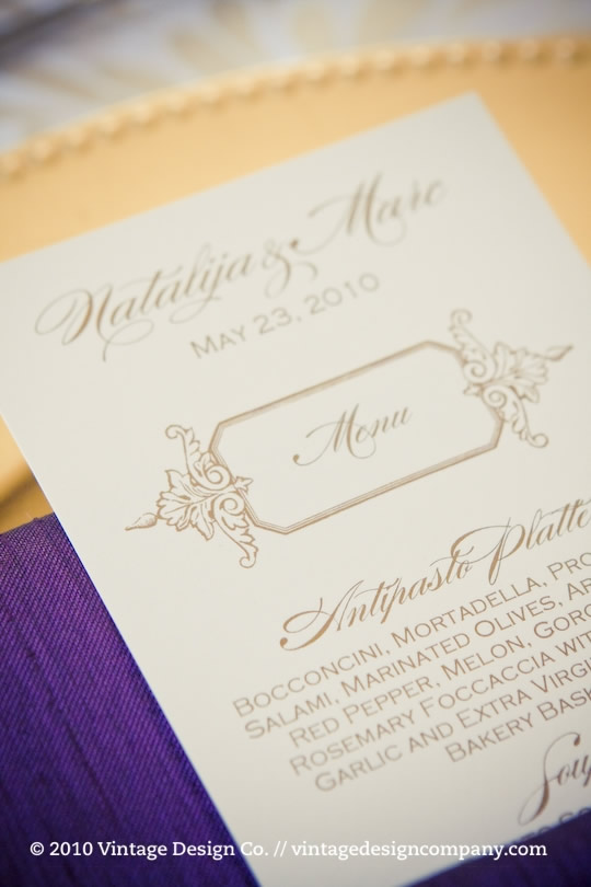 Vintage Design Co. // Wedding Menu