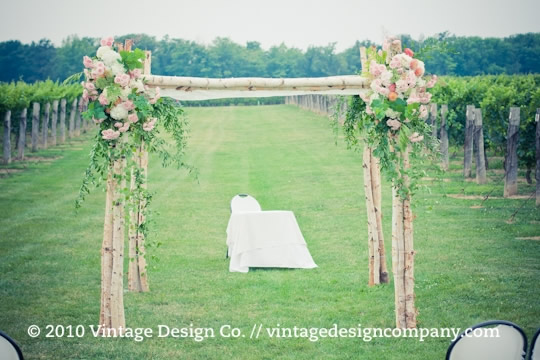 Birch Chuppah in the vineyard for outdoor vineyard wedding ceremony 3