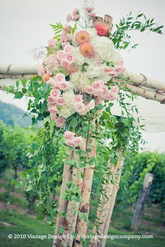Birch Chuppah in the vineyard for outdoor vineyard wedding ceremony 2