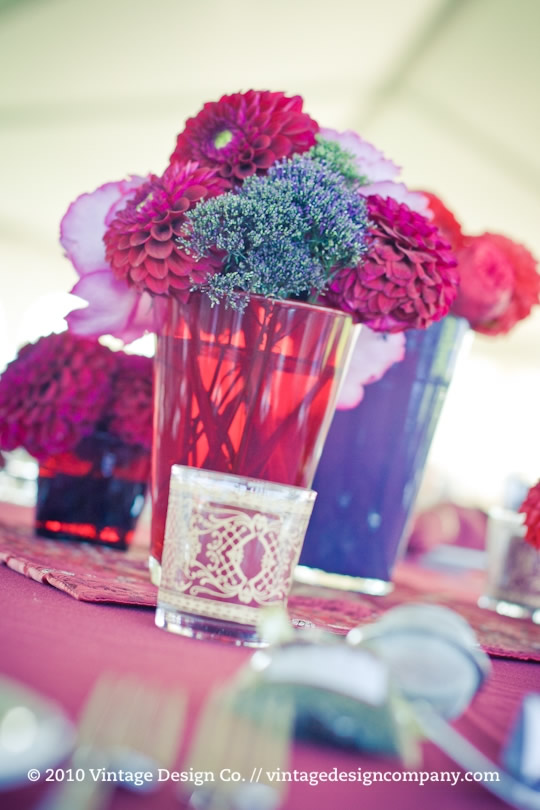 Vintage Design Co. // Wedding Reception Flowers at Indian Wedding Outdoor