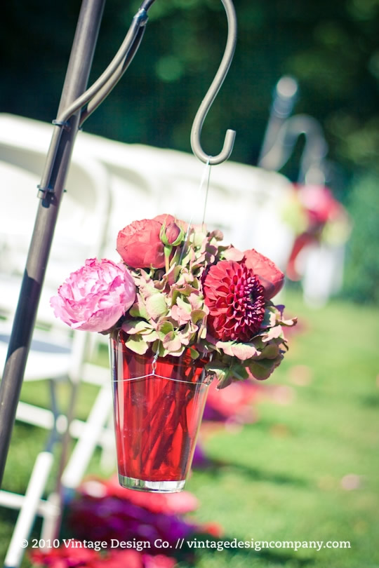 Vintage Design Co. // Shepherd's Hooks at Wedding Ceremony in Garden