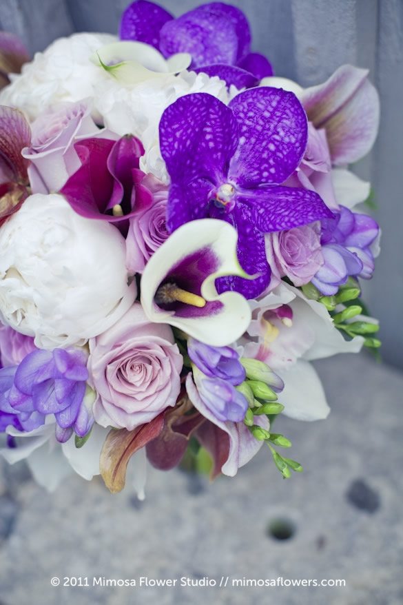 Purple and white Bride's Bouquet - closeup