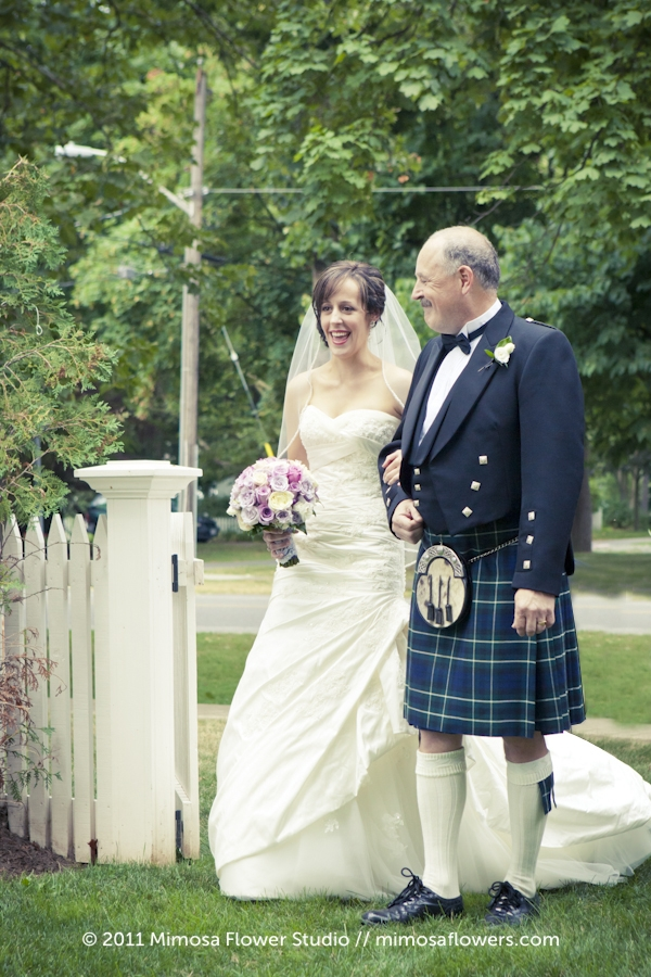 Bride and Father walking down the aisle at Miller House