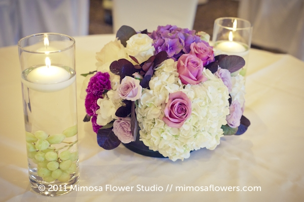 Purple Centrepieces at Pillar and Post in Upper Canada Hall 2