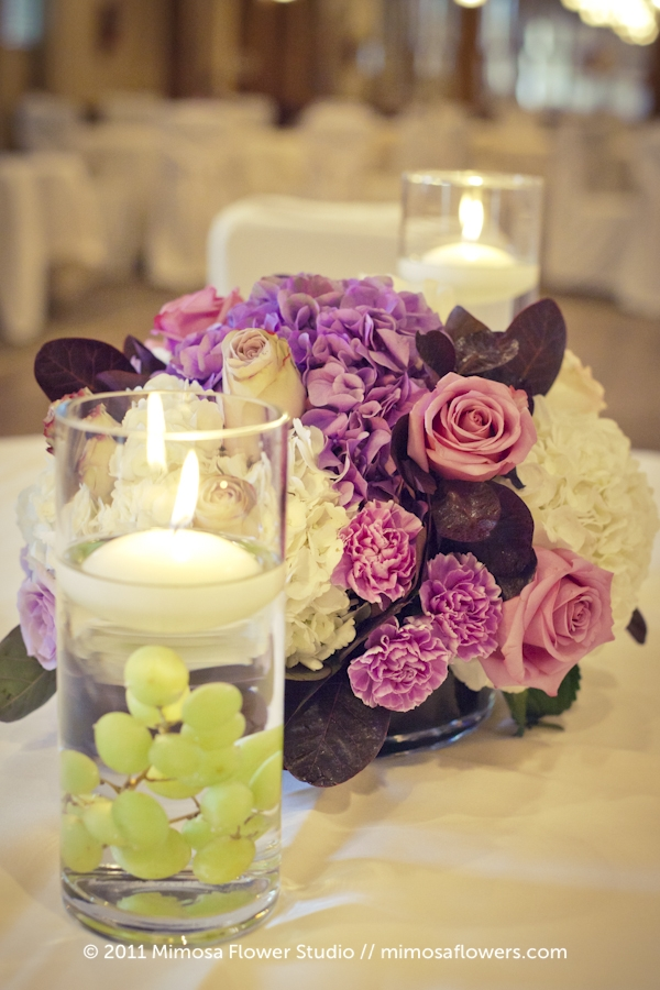 Purple Centrepieces at Pillar and Post in Upper Canada Hall 1