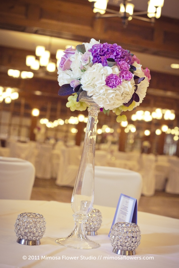 Purple Centrepieces at Pillar and Post in Upper Canada Hall 4