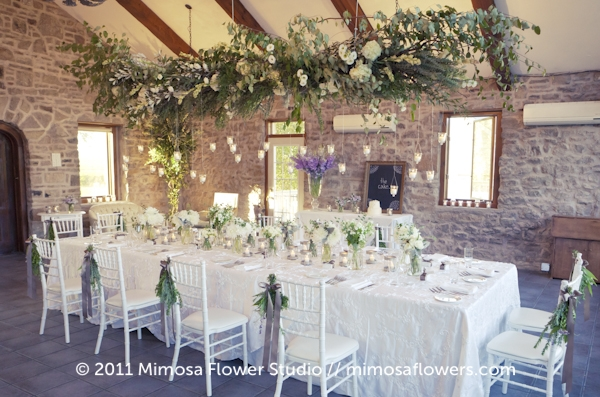 Vineland Estates Head Table in the Carriage House with a cloud of foliage